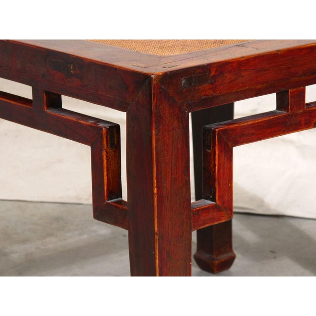 A Chinese Elm Wood Square Side Table with Rattan Top For Sale - Image 4 of 4