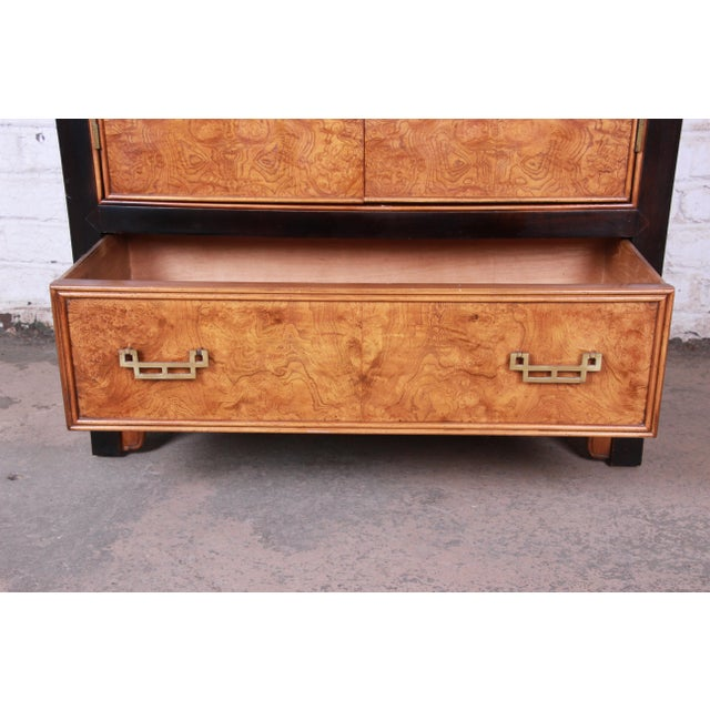Century Furniture Black Lacquer and Burl Wood Chinoiserie Armoire Dresser For Sale - Image 10 of 13