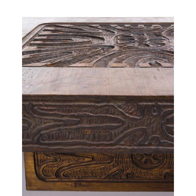Monumental Carved Abstract Relief Coffee Table, c. 1960 For Sale - Image 5 of 7