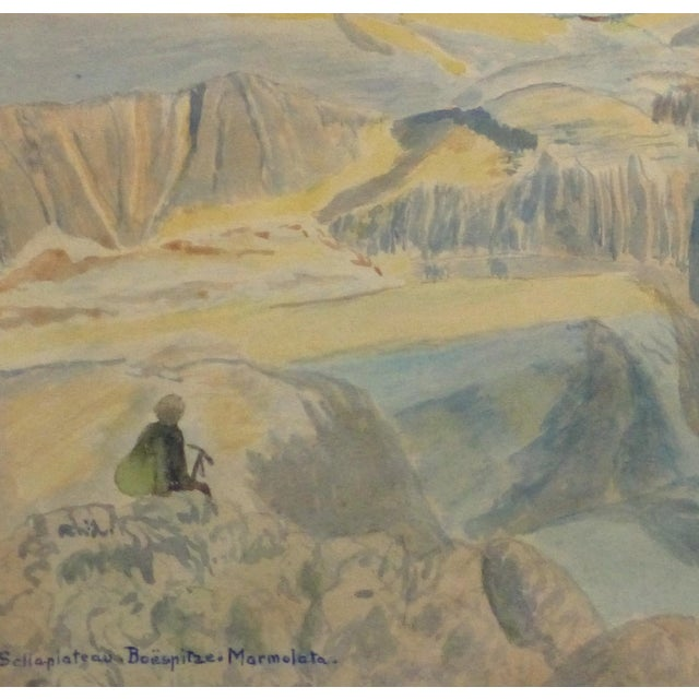 Vintage Italian Mountains Watercolor Painting,1956 - Image 2 of 4