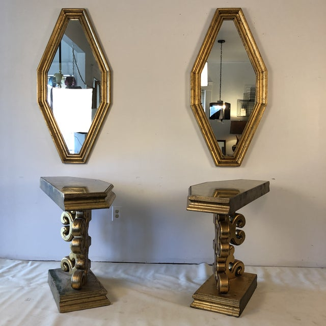 James Mont 1950s Hollywood Regency Gold Console and Mirror For Sale - Image 4 of 13