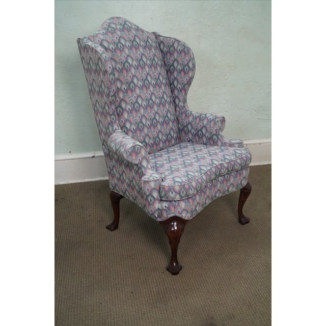Solid Mahogany Queen Anne Style Wing Chair by Southwood AGE/COUNTRY OF ORIGIN: Approx 25 years, America...