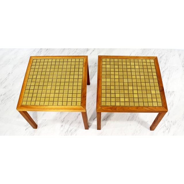 For your consideration is a simple and beautiful pair of green tile top side tables and walnut wood by Martz, circa the...