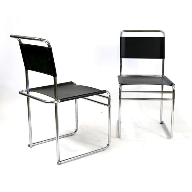 Bauhaus Marcel Breuer B5 Black Leather Chairs  A Pair