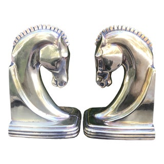 Art Deco Brass Horse Head Bookends - a Pair For Sale
