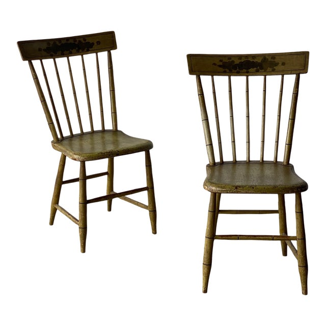 Early 20th Century Faux Bamboo Spindle Back Chairs - a Pair For Sale