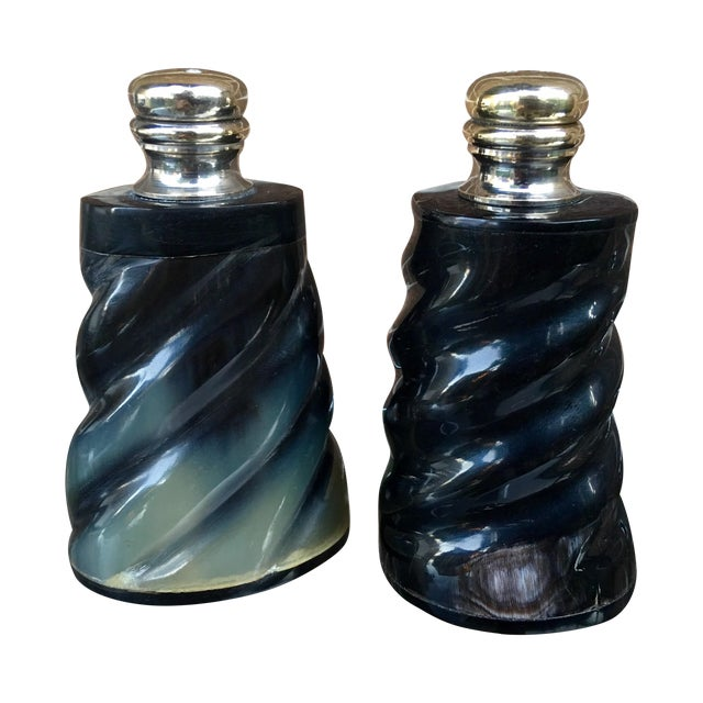Black Horn & Silver Plate Salt & Pepper Shaker Set - Image 1 of 6