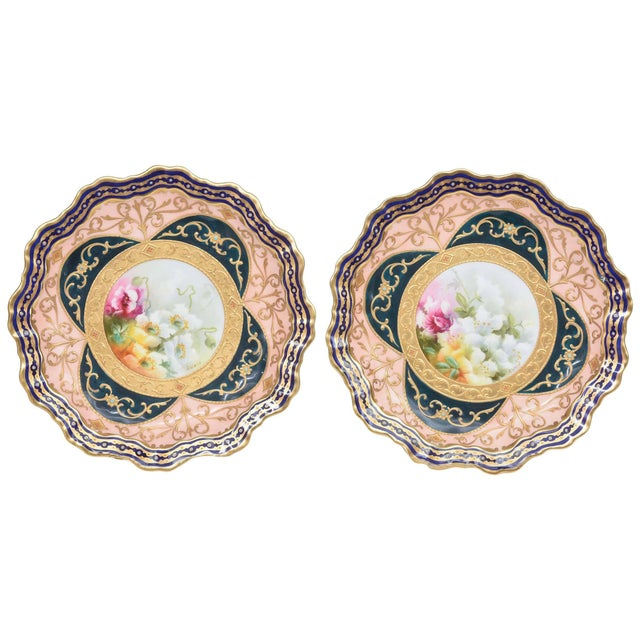 Exquisite and Elaborate Cabinet or Display Plates Pair, Fine Art Gilt Encrusted For Sale - Image 9 of 9