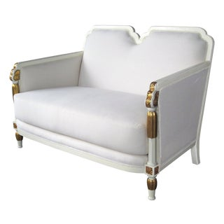 Stylish French Art Deco Ivory-Lacquered and Parcel-Gilt Settee For Sale