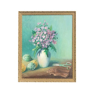 1950s Vintage Floral Still Life Gilt Framed Painting For Sale