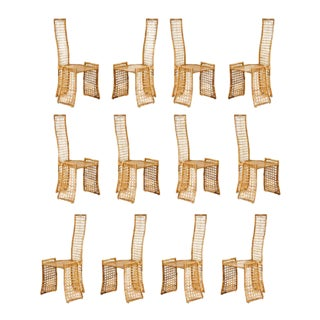 Fabulous Set of Twelve Rattan Dining Chairs by Danny Ho Fong