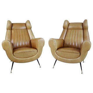 Rare Italian Ocher Leather Wingback Chairs with Brass Feet, Pair, circa 1960 For Sale