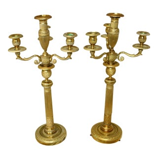 C. 1870s French 2nd Empire Bronze Candelabra - a Pair For Sale