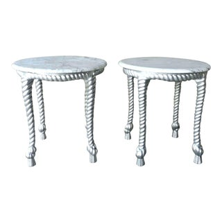 1970s Vintage Hollywood Regency Style Marble Topped Tables - a Pair For Sale