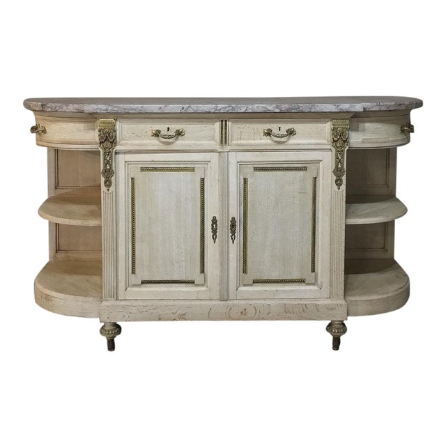 19th Century French Louis XVI Marble Top Stripped Oak Buffet With Ormolu Bronze For Sale
