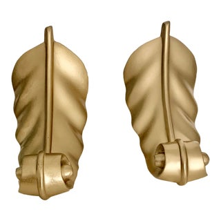 Vintage Neoclassical Golden Leaf Metal Bookends - a Pair For Sale