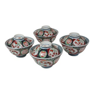 1960s Hand Painted Japanese Covered Imari Rice Bowls - Set of 4 For Sale