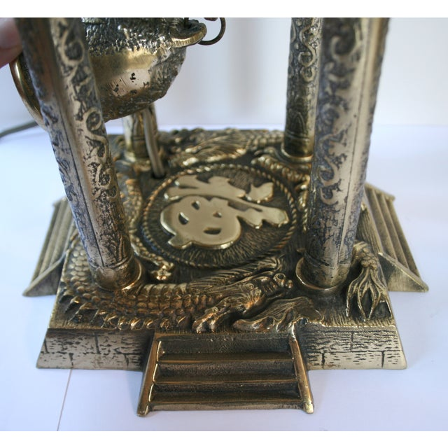 Asian Vintage Brass Pagoda Lamps - A Pair For Sale - Image 3 of 11