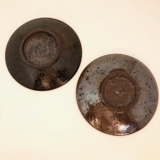 Handthrown Mid-Century Studio Pottery Plates - A Pair For Sale - Image 10 of 11