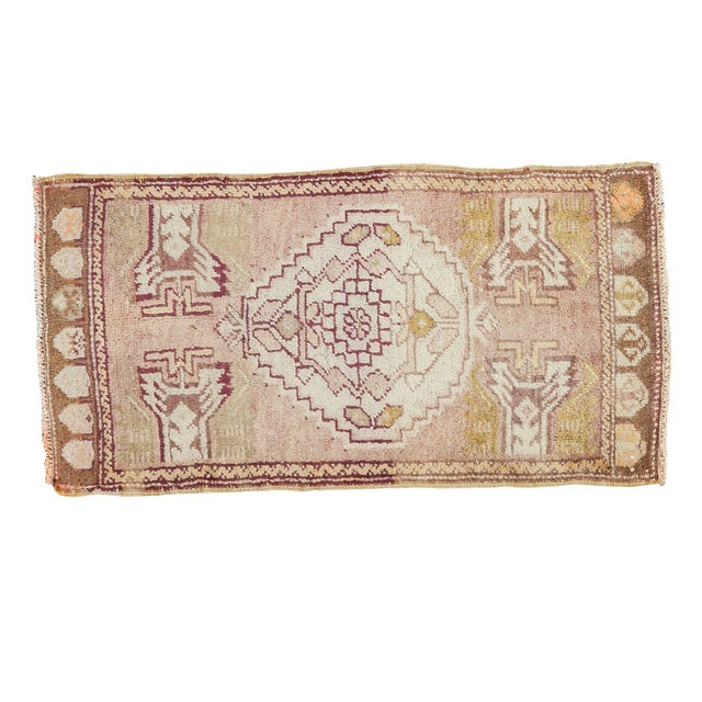 Mauve and Tan Vintage Oushak Rug - 1′5″ × 2′8″ - Image 1 of 6