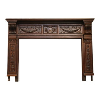 20th Century Federal Heavily Carved Ornate Wood Mantel For Sale