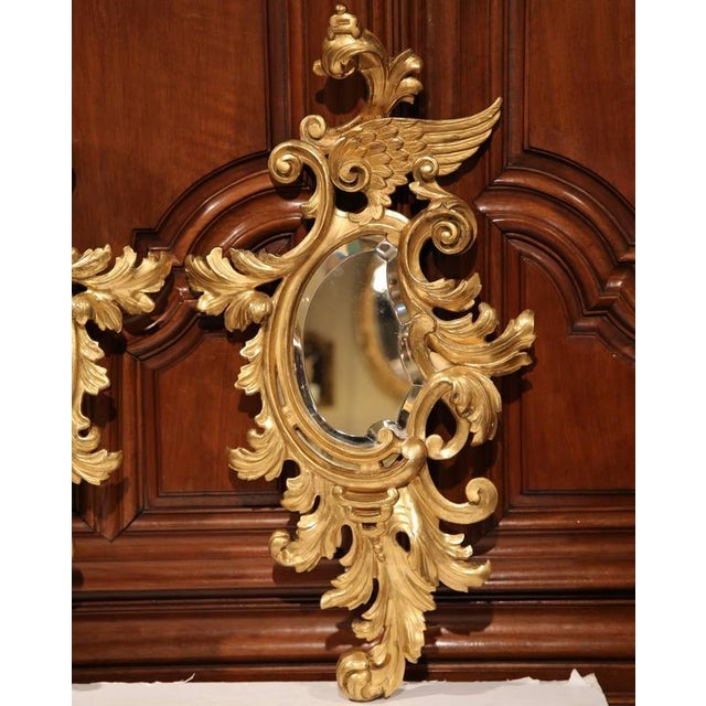 Mid-19th Century French Louis XV Carved Gilt Rococo Mirrors With Wings - A Pair For Sale - Image 5 of 9