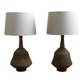 1960s Mid Century Modern Martz Styled Cork & Wood Table Lamps - a Pair
