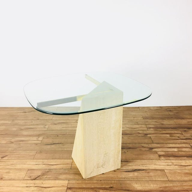 Mid-Century Modern Glass & Marble End Table - Image 6 of 6