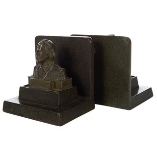 Shakespeare Bust Bronze Bookends - A Pair