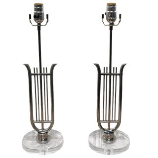 French Neoclassical Chrome Lyre Lamps with Lucite Bases - a Pair