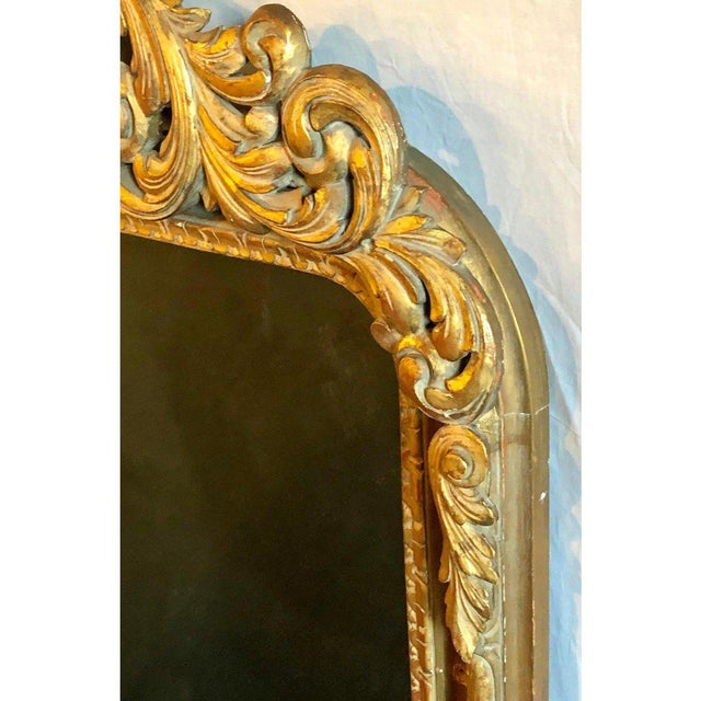 Large Carved Rococo Wall / Console Mirror W. Grape and Scroll Design For Sale - Image 10 of 12