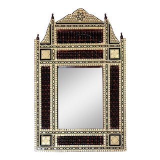 Early 20th Century Syrian Mirror Inlaid With Mother-Of-Pearl and Wood Spindles For Sale