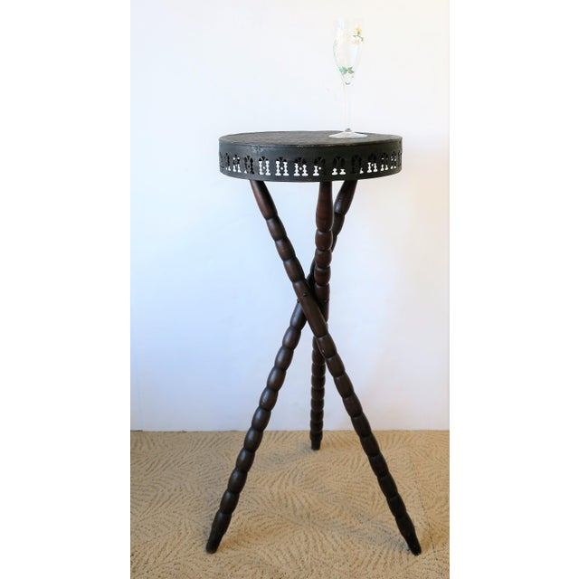 Black 20th Century Rustic Black and Brown Tripod Side Table For Sale - Image 8 of 13