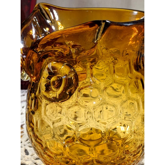 Glass Blown Amber Glass Owl Shaped Candle Holder Vase For Sale - Image 7 of 13