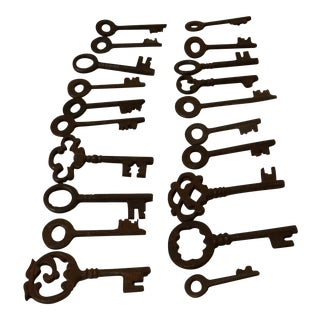 Antique Iron 1900's Skeleton Keys - Set of 20