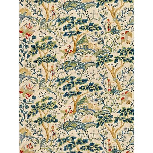 Traditional Scalamandre Kelmescott Hand Block Print Fabric, Peacock on Sand For Sale - Image 3 of 3