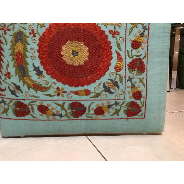 White Vintage Hand Embroidery Suzani Screen For Sale - Image 8 of 13