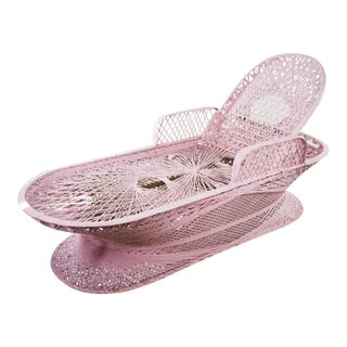1960's Mid-Century Modern Light Pink Faux Wicker Patio Lounge Sun Pool Chair For Sale