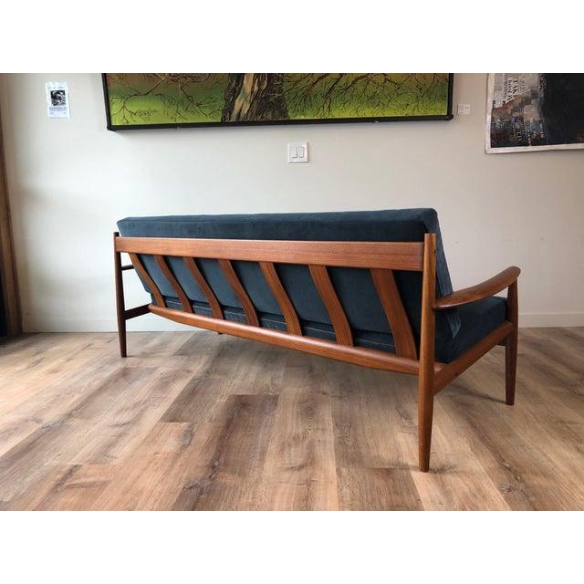 Wood Vintage Grete Jalk for France & Sons Model 118 Reupholstered Teak Sofa For Sale - Image 7 of 11