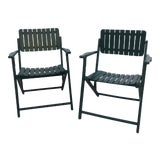 Image of 1940's Hunter Green Slatted Wood Garden Chairs - a Pair For Sale