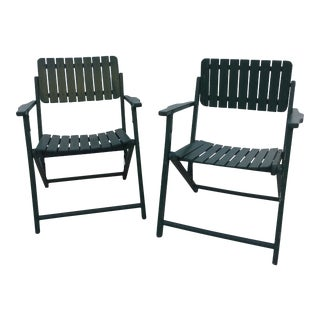 Mid-Century Dark Green Wood Folding Chairs - a Pair For Sale