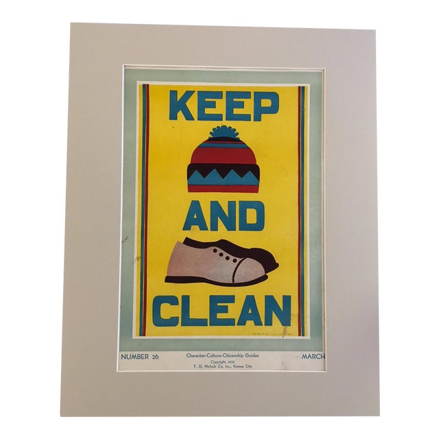 "Vintage 1930's ""Keep (Hat) and (Shoes) Clean Classroom Poster - Image 1 of 3"