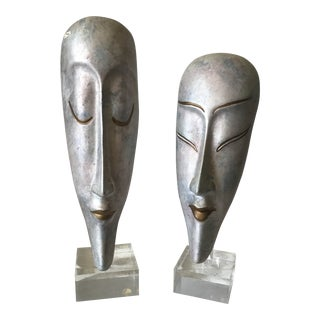 Ceramic Masks on Lucite Stands, Pair For Sale