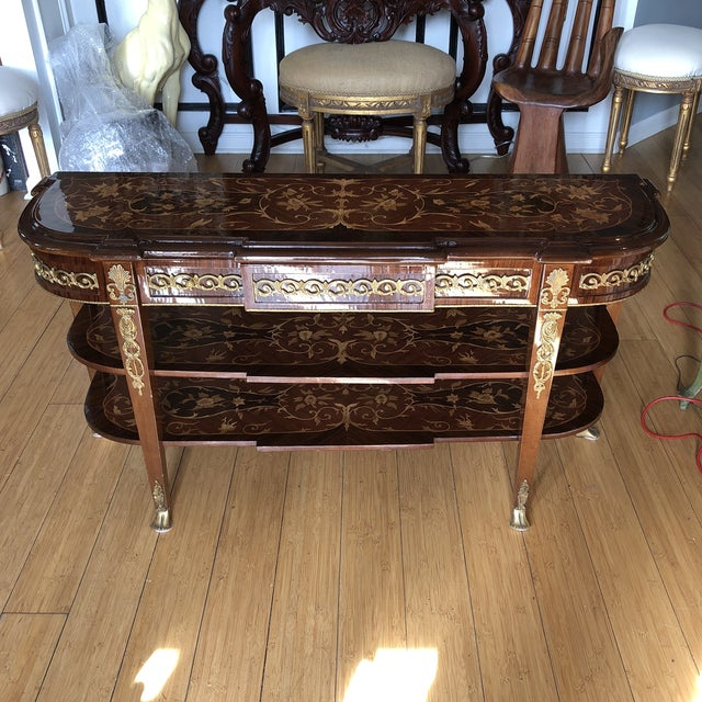 Wooden Inlay Marquetry Petite Console Table With Brass Feet** For Sale - Image 13 of 13