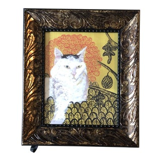 Contemporary Cat Print by Judy Henn in Frame For Sale