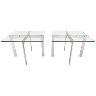 Milo Baughman Style End Tables - A Pair