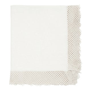 Once Milano Linen Tablecloth Medium With Macramé in White For Sale