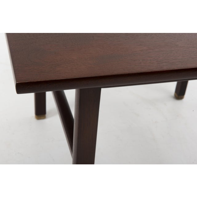 Cantilevered Edward Wormley Dunbar Square Side End Table 1960s Walnut Brass Tag For Sale In Philadelphia - Image 6 of 10