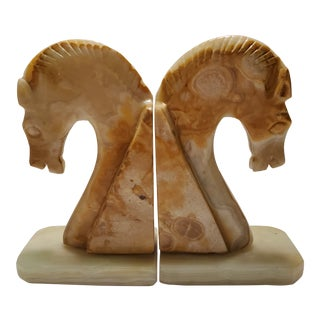 Vintage Marble Hand Carved Horse Head Bookends - a Pair For Sale