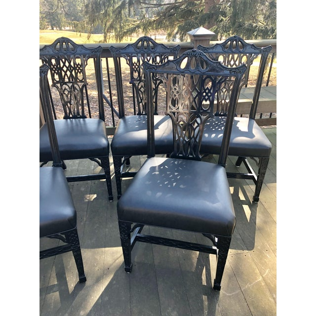 1980s Vintage Chinese Chippendale Pagoda Chairs- Set of 6 For Sale In Cleveland - Image 6 of 11